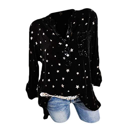 Poches Manches Femmes Imprimé Longues Chemisier Taille Hauts Femme Noir Chemise Top Plus Mode Bouton Beikoard q40zYY