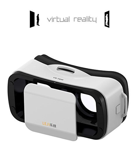 """Mini 3D VR Headset Glasses Virtual Reality for iPhone 6s/6 Plus/6/5S/5C/5 Samsung Galaxy S5/S6/Note4/Note5 & Other 4.7""""-6.0"""" Cellphones (White)"""
