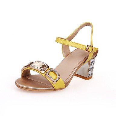 LvYuan Tacón Robusto Tacón de cristal-Zapatos del club-Sandalias-Boda Fiesta y Noche Vestido-Cuero-Amarillo Oro Yellow
