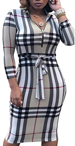 PerZeal Women's Sexy Floral Stripe 3/4 Sleeve Bodycon Midi Dress with Belt