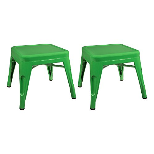 Excellent Sprogs Tolix Style Square Metal Stool 12 H Green Spg Lamtechconsult Wood Chair Design Ideas Lamtechconsultcom