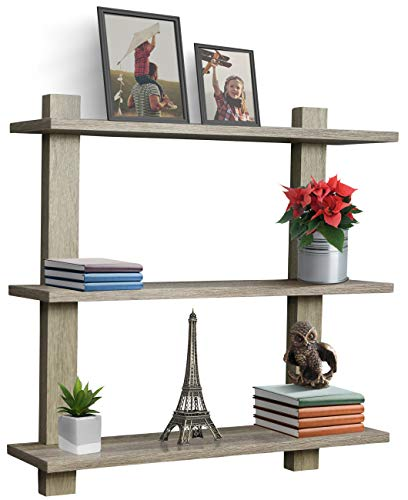 Sorbus Floating Shelf - Asymmetric Square Wall Shelf, Decorative Hanging Display for Trophy, Photo Frames, Collectibles, and Much More, Set of 3 (3-Tier - Grey)