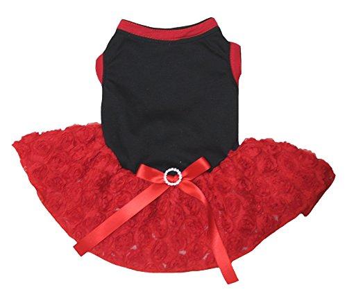 Petitebella Puppy Cloth Dog Dress Plain Black Cotton Shirt Red Floral Rose Tutu (XX-Large)