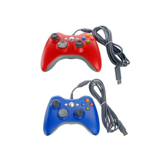 Generic Xbox 360 Wired USB Game Pad Controller 2 Pack Red Blue (Xbox 360 Wired Game Controllers)