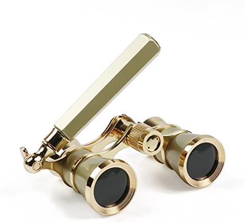 Kingscope 3X25 Vintage Opera Glasses Binoculars for Theater Musical Concert Lorgnette,Golden, with Handle