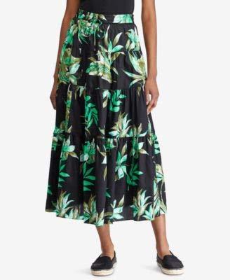 LAUREN RALPH LAUREN Womens Printed Daytime Midi Skirt Black S