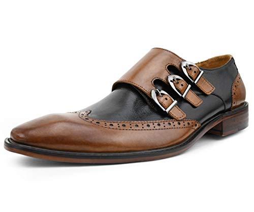 Asher Green Mens Two Tone Black and Tan Genuine Leather Wingtip Triple Monkstrap Dress Shoe: AG118-028