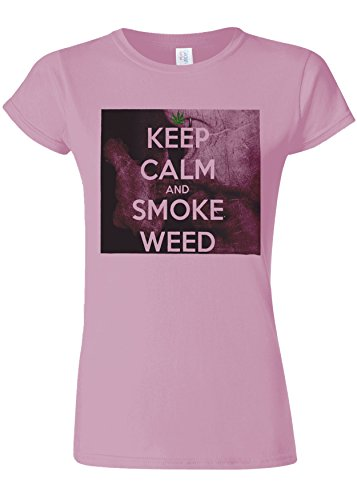 トラック気を散らす境界Kep Calm And Smoke Weed High Novelty Light Pink Women T Shirt Top-L
