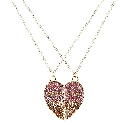Claire's Girl's Best Friends Gold Glitter Split Heart Pendant Necklaces