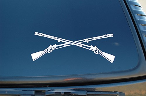 "Army Infantry Sticker Vinyl Decal Crossed Rifles Pick Color & Size! Car Window Military NRA (V360) (8"" X 3"", White)"