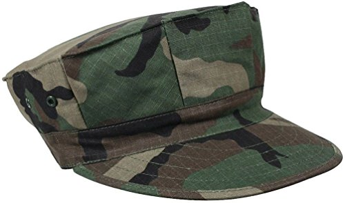 Fatigue Style Hat - Woodland Camouflage Military Style Marine & Navy 8 Point Fatigue Hat Cap