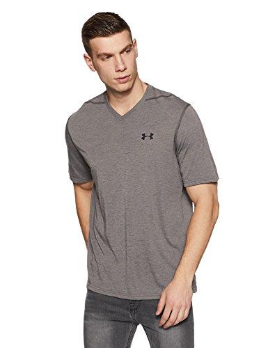 Under Armour Mens Threadborne Siro V-Neck T-Shirt, Carbon Heather /Black, Medium