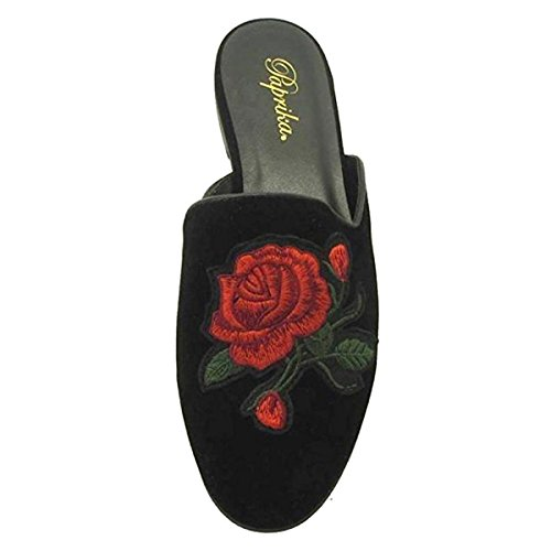 (PAPRIKA Women's Embroidered Floral Slip On Mule Loafer Slipper Flats (7.5 B(M) US, Black Lami Suede))