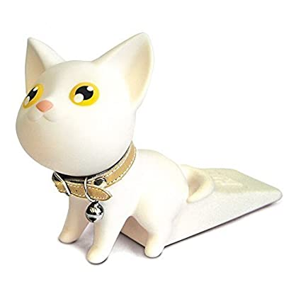 Cute Cat Door Stopper Wedge Finger Protector,  Works on All Surfaces, Non Scratching, Strong Grip (Black cat)  Works on All Surfaces Semk