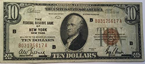 Rare $10 Ten Dollar National Currency 1929 Brown Seal Federal Reserve Bank New York NY USA Scarcer Early Type Note