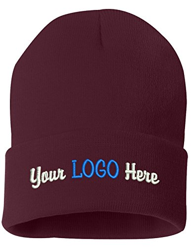 Peerless Beanie Hat With Custom Text Embroidered Your Text Here One Size SP12 (Maroon Knit W/Logo, 12) by Peerless Embroidery