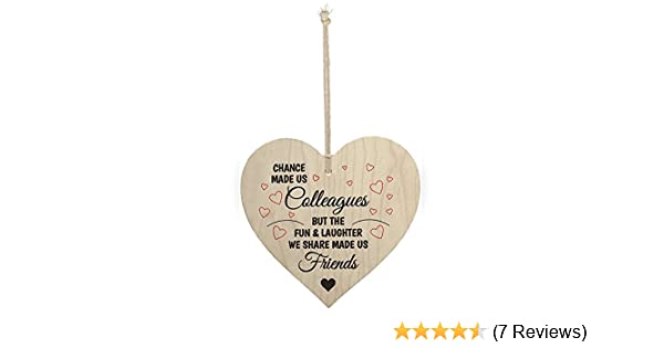 SL crafts Chance Made us Colleagues Colleague Gift Wooden Hanging Heart Leaving Gift Friendship Sign