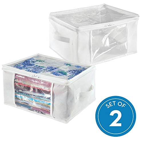 InterDesign Fabric Foldable Storage Zipper Bags Cubes with Handles for Organizing Clothing, Linens, Towels, 16 x 12 x 8, Set of 2, White