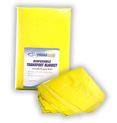 """Primacare CB-6821 Disposable Transport Blanket, 90"""" Length x 60"""" Width, Yellow"""