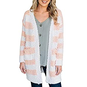 MEROKEETY Women's Long Sleeve Open Front Striped Contrast Color Popcorn Knit Cardigan with Pockets