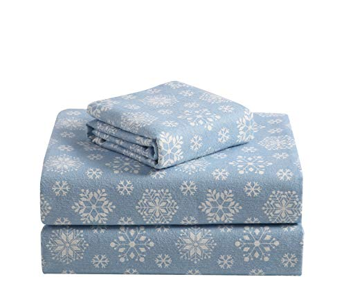 Morgan Home Fashions Cotton Turkish Flannel Sheets 100% Brushed Cotton for Supreme Comfort - Deep Pockets - Warm and Cozy, Great for All Seasons (Snowflake Haze Blue, Queen)
