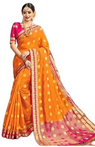 (Ethnic Orange Color Raw Silk Weaving Work Saree)