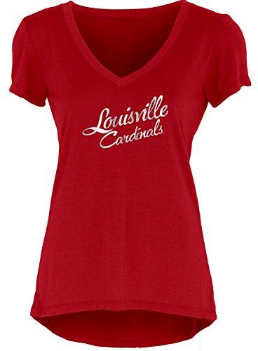 Blue 84 NCAA Louisville Cardinals Women's Liquid Jersey V-Neck, Red, - Cardinals Womens Louisville Football