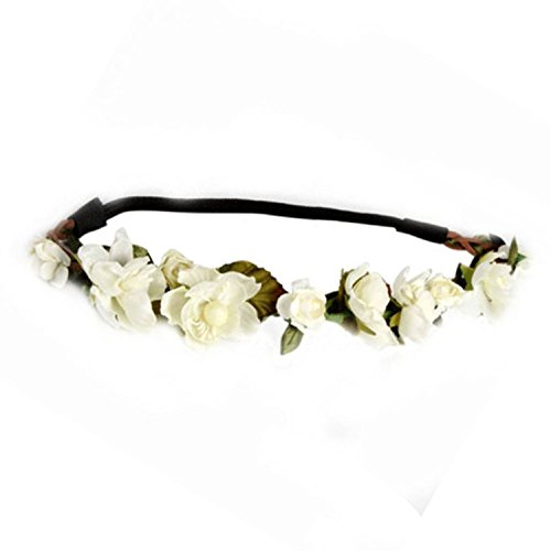Hippie 2 Piece Headband (Floral Fall Cute Stretch Flower Crown Party Headband Wedding Hair Wreath F-003)