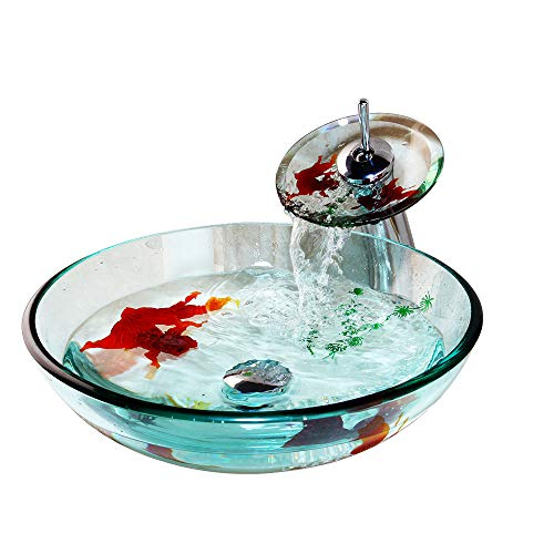 OUBONI Bathroom Vessel Sinks Vanities Set Transparent Goldfish Painting Tempered Glass +Matching Style Faucet +Chrome Pop-up ()