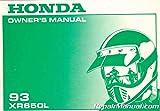 31MY6600 1993 Honda XR650L Motorcycle Owners Manual