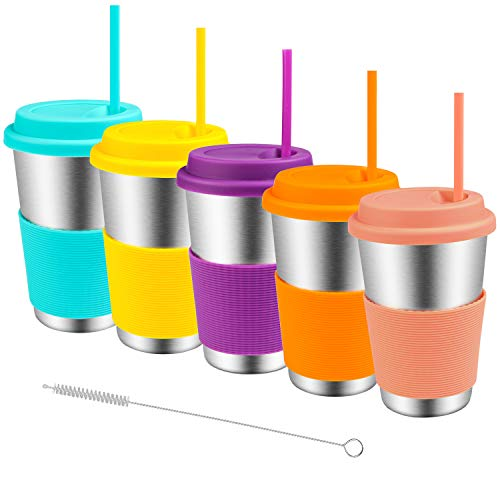 Stainless Steel Cups with Lids and Straws, Spnavy 5 Pack 16 OZ Stackable Metal Drinking Glasses for Kids Toddlers Adults Unbreakable Pint Cup Tumblers for Travel, Outdoor, Camping, Everyday Use