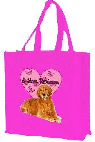 I Love Retrievers cotone shopping bag, rosa