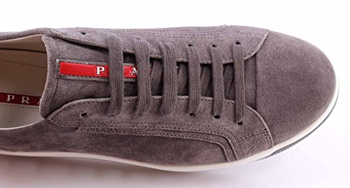 Prada Hommes Chaussures Sneakers 4e2701 Suede Gravel Gris Sole Air Comfort
