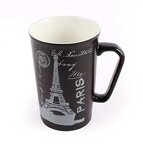 Neolith Porcelain Coffee Mugs with Gift Box Funny Black China Mugs Eiffel Tower Mug for Teachers History Geometry Great Choice for Architecture Students Morning Coffee Mug (13.5 oz, The Eiffel Tower) (Mug Porcelain Handle Travel With)