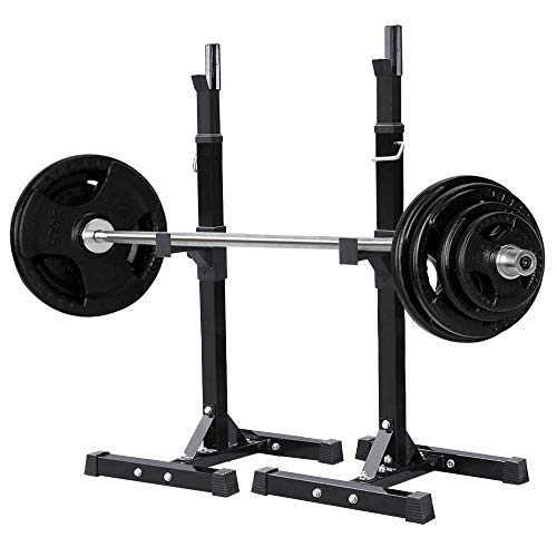 Yaheetech Pair Adjustable Squat Rack Standard Solid Steel Squat Stands Barbell Free Press Bench Home Gym Portable Dumbbell Racks Stands 44'-70'