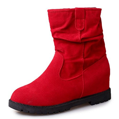 Red Mid Low Hidden Fashion COOLCEPT Women Flats Heel Boots Slouch Calf v4nRfpqTwx