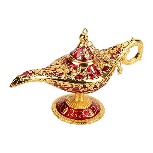 Aladdin Light Lamp--Metal Carved Hollow Legend Lamp Hollow Aladdin Magic Genie Light Wishing Pot Decor Vintage Collectable Rare Magic Genie Light Lamp Pot Classic 12×4.5×6.5cm(#1Golden Lace Red)