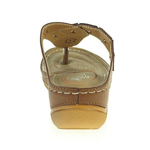 AARZ LONDON Womens Ladies Open Toe Summer Comfort Casual Low Wedge Heel Lightweight Cushioned Sandals Shoes Size Khaki 8aG37YIw9