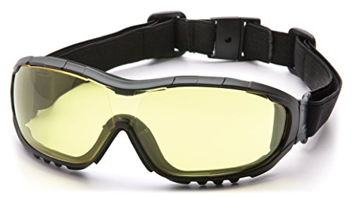 Pyramex V3G Safety Goggles, Black Strap/Temples/Amber Anti-Fog - Goggles Lens Amber