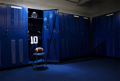 Storeroom Ball - LFEEY 7x5ft School Blue Soccer Locker Photography Backdrops Students Sports Hall Gym Storeroom Football Open Door Lockerroom Background for Portrait Kids Boys Adults Sportsman Photo Booth Props