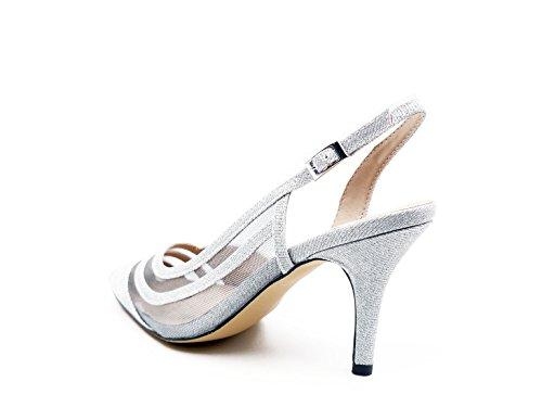 Zapatos Cerrado Mujer Puntera Glitter 07320 10 Tacón Plata Fiesta 5 Tejido En De Mena Cm 5 Forrado Paco Plata fBw5f