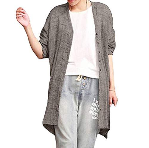 Lunga Cardigan Elegant Warm Poncho Femminile Button Coat Manica Unita Grigio Tinta Coverup Cozy Down xZgqTxv