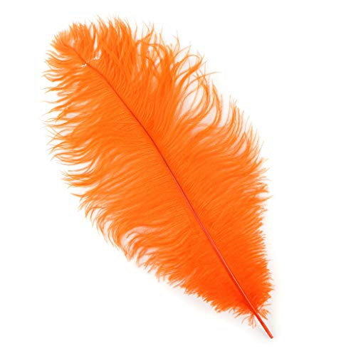 Zucker Ostrich Feathers for Centerpieces- Wedding Decorations- Feathers for Crafts, 12 Pieces, 13-16 inch, Orange -