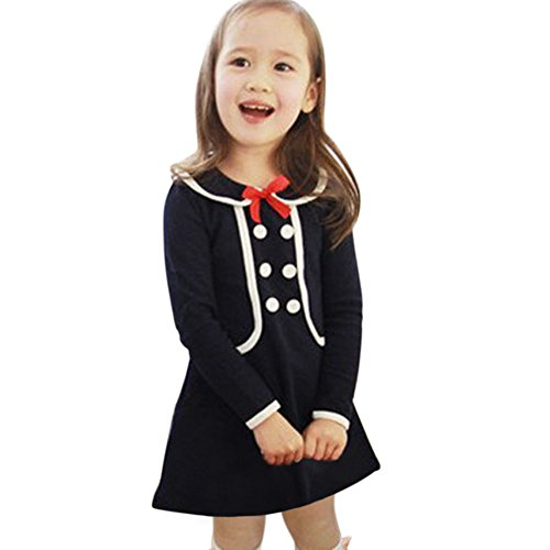 255223fc7be5 Shouhengda Kid Girls Tops Pullover Long Sleeve Dress Preppy Style ...