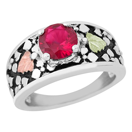 (Antiqued Created Ruby Ring, Sterling Silver, 12k Green and Rose Gold Black Hills Gold Motif, Size)
