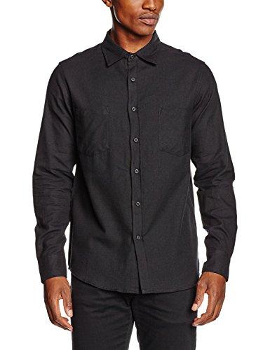 Urban Classics Herren Freizeit Hemd Checked Flanell Shirt, Schwarz (Blk/Blk 17), Kragenweite: 39 cm (Herstellergröße: S)