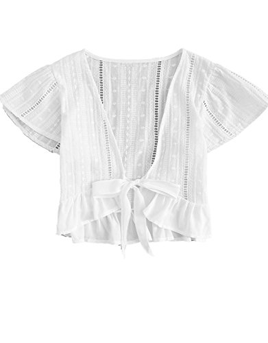 Floerns Women's Summer Plunging V Neck Knot High Low Hem Crop Top White S