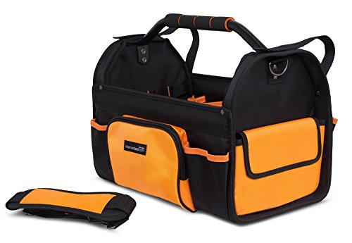 Internet's Best Open Top Tool Bag | Rigid Frame Tote Tool Box | 16 Pocket Hard Utility Tool Bin | 17 Inch by Internet's Best