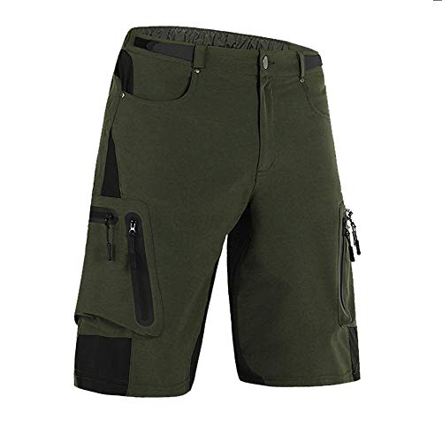 "Cycorld Mens Mountain Bike Biking Shorts, Water Repellent MTB Shorts, Loose Fit Cycling Baggy Pants with Zip Pockets (XL(Waist:32.5""-34.5"", Hip:39""-41""), Army Green)"
