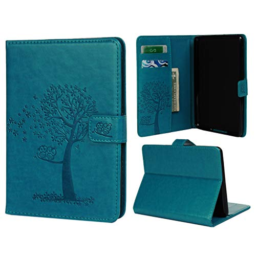 Tom's Village Tablet Case for Kindle Paperwhite 4 2018 Version Premium PU Leather Floral Tree Cute Owls Slim Folding Stand Folio Cover with Auto Sleep Multiple Viewing Angles Blue